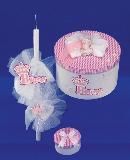 "Set  botez  lumanare si cutie ""Little Princess"""
